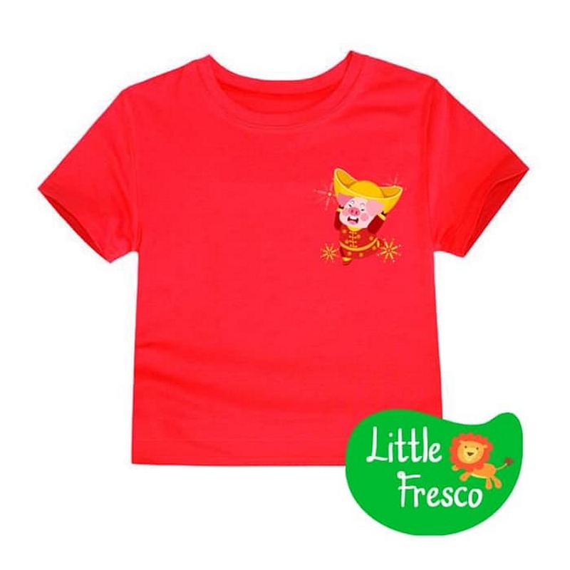 Little Fresco - Kaos Anak Merah Imlek Emas Piggy