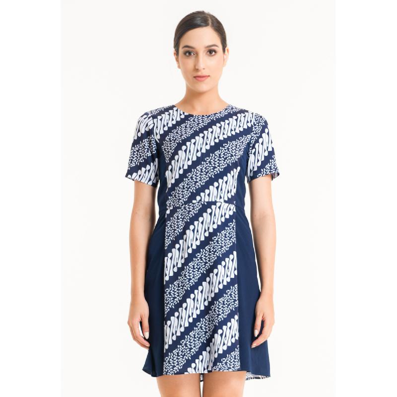 Bateeq Women Short Sleeve Cotton Print Drees FL010A-FW17 Navy