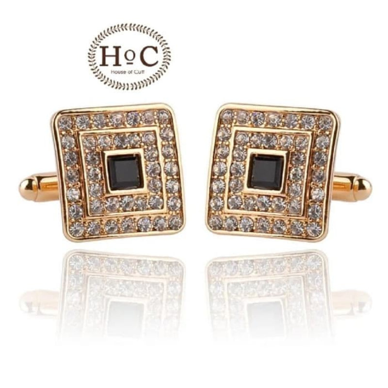 House Of Cuff Cufflinks Manset Square Multi Studded Crystal Gold - Emas