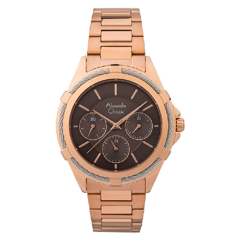 Alexandre Christie AC 2841 BF BRGBO Ladies Brown Dial Rose Gold Stainless Steel Strap