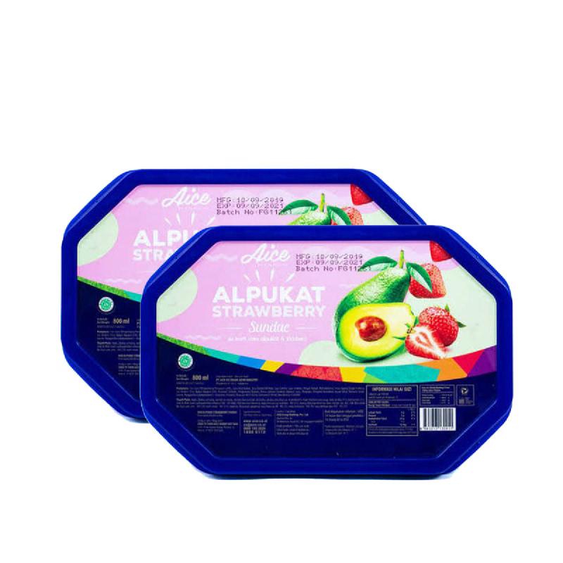 Aice Ice Cream Alpukat Straw 800Ml (Get 2)