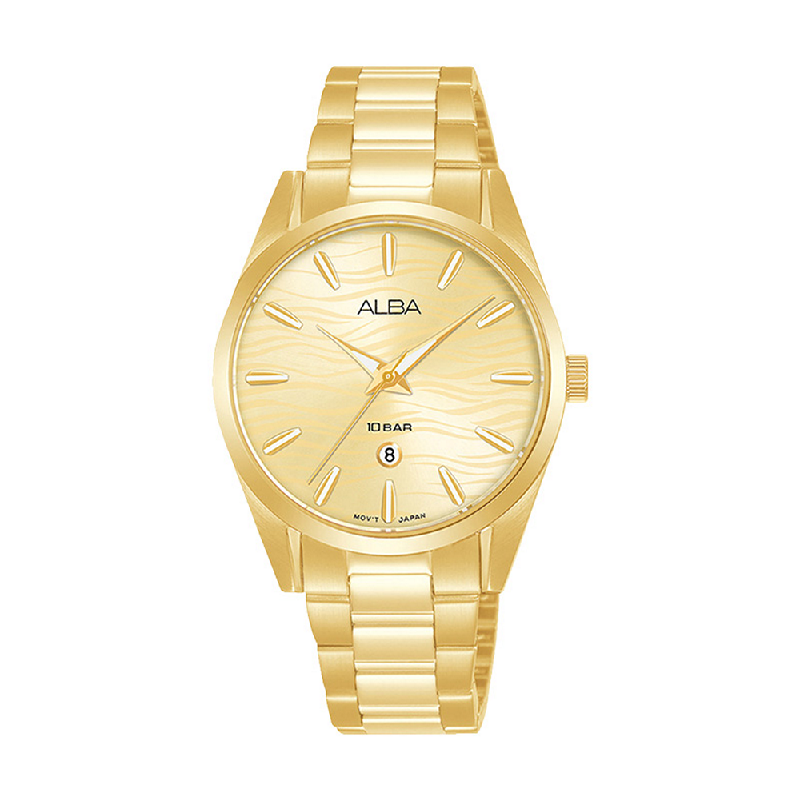 Alba AH7X62X1 Gold Pattern Dial Gold Stainless Steel Strap