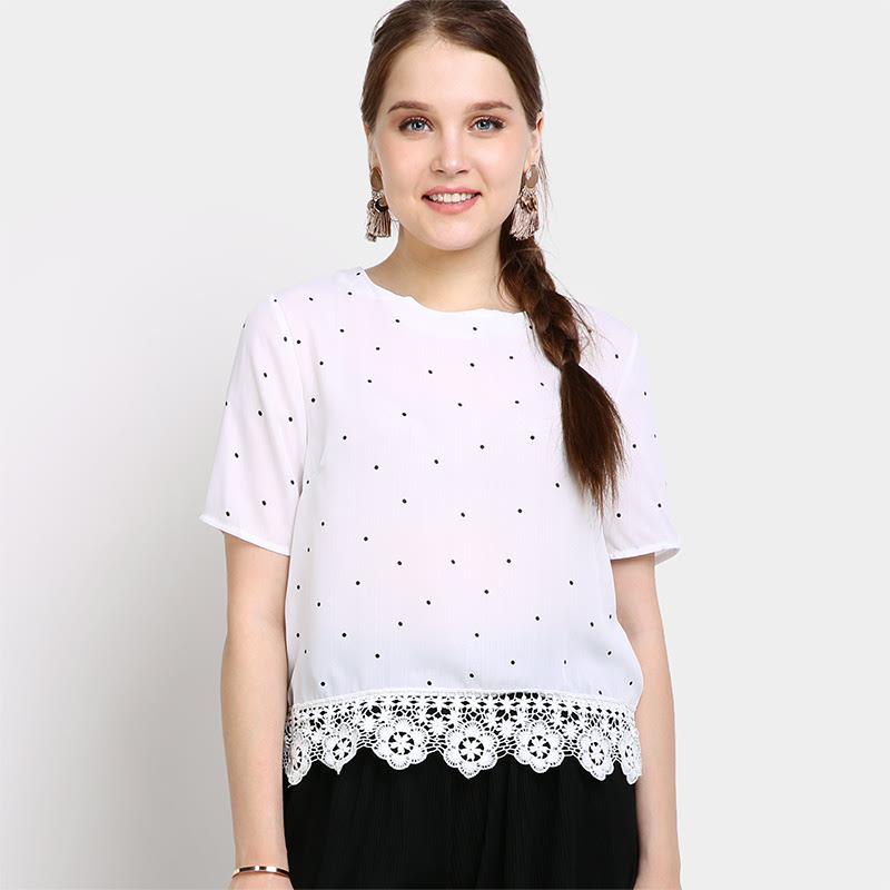 Crochet Lace Edge Dot Blouse Color WtDot