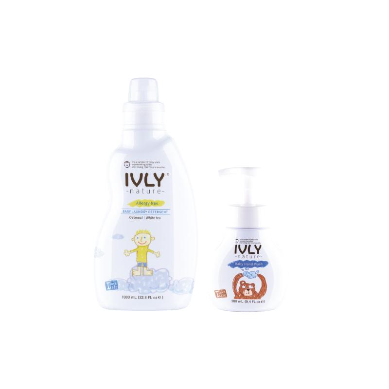 Ivly Nature - Baby Laundry Detergent Oatmeal & White Tea 1000ml + Baby Handwash 280 ml