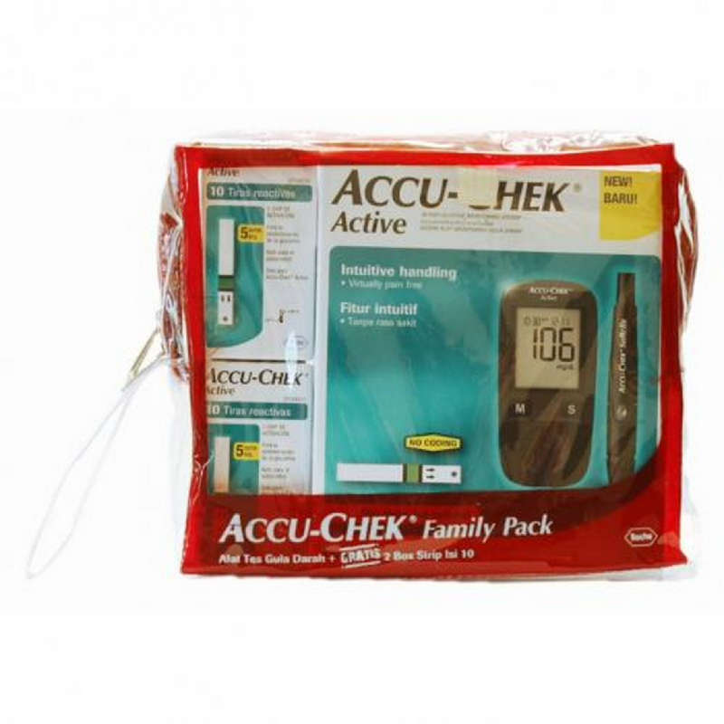 Accu-Chek Active New Family Pack (Meter + Strip 20 + Lancet 10)