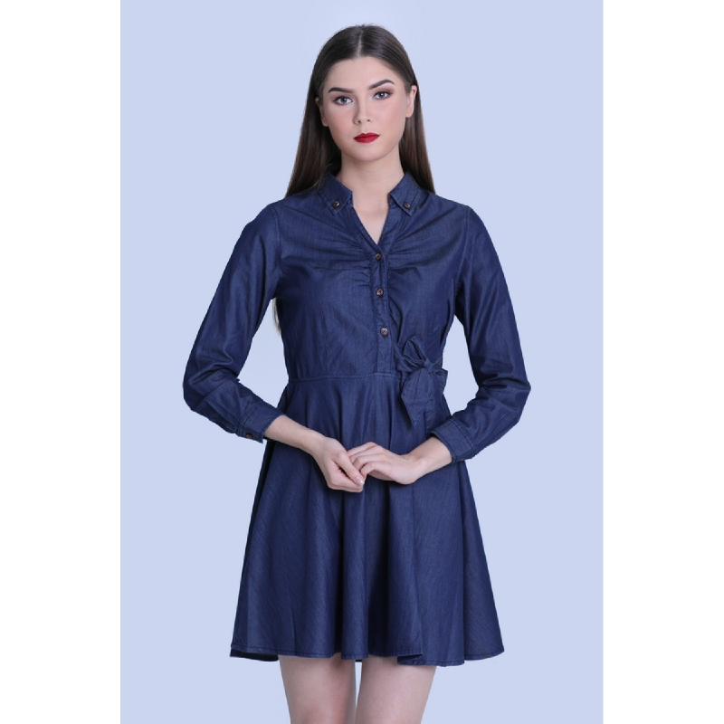 Miyoshi Josei MJ19DR190AJ Dark Blue Denim Dress