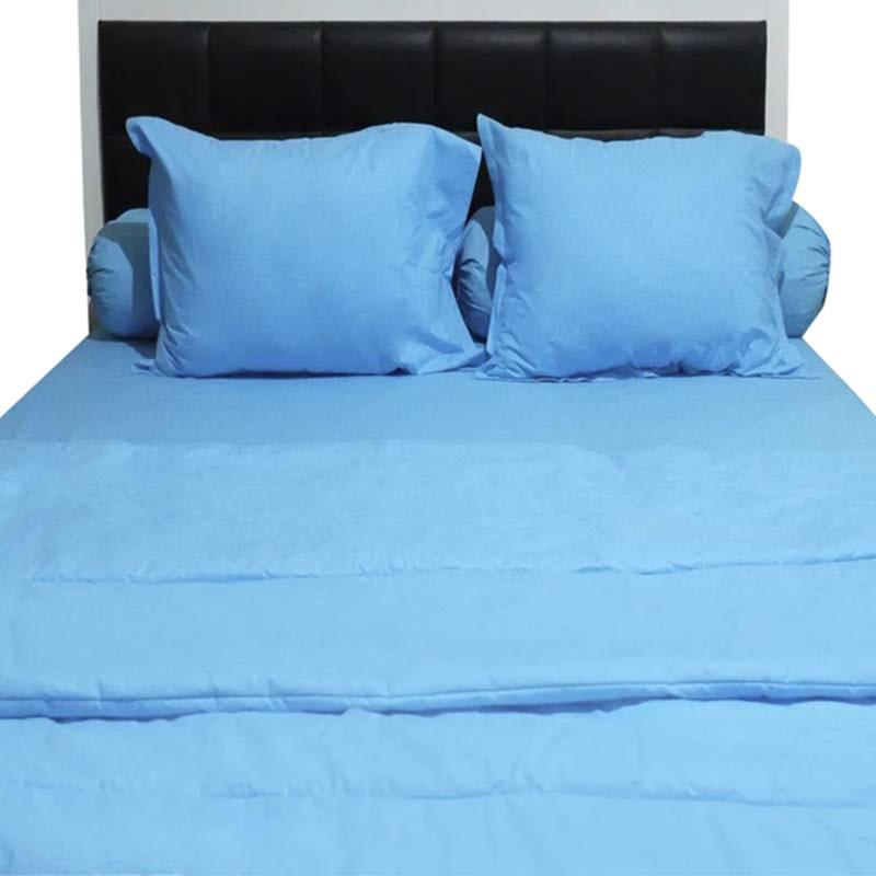 Sleep Buddy Set Sprei dan Bed Cover Plain Blue CVC 120x200x30