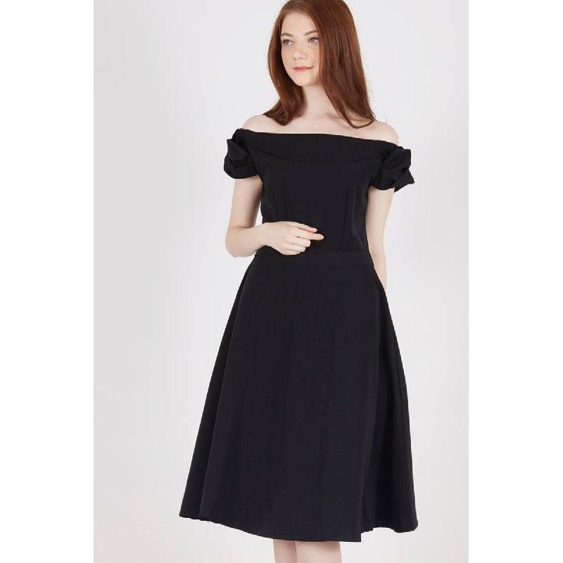 Syeda Bow Dress Black