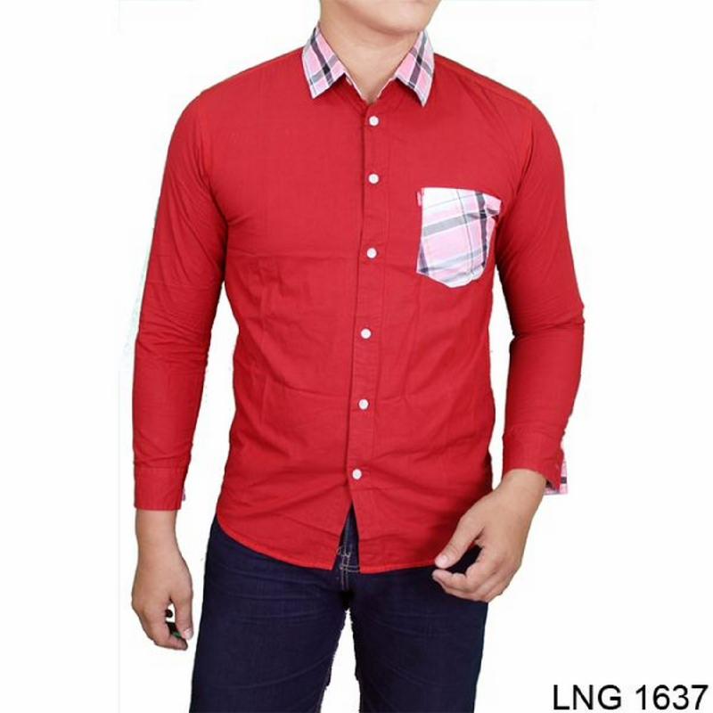 Gudang Fashion Kemeja Casual Pria Modis Katun Merah LNG 1637 (Chinese New Year)