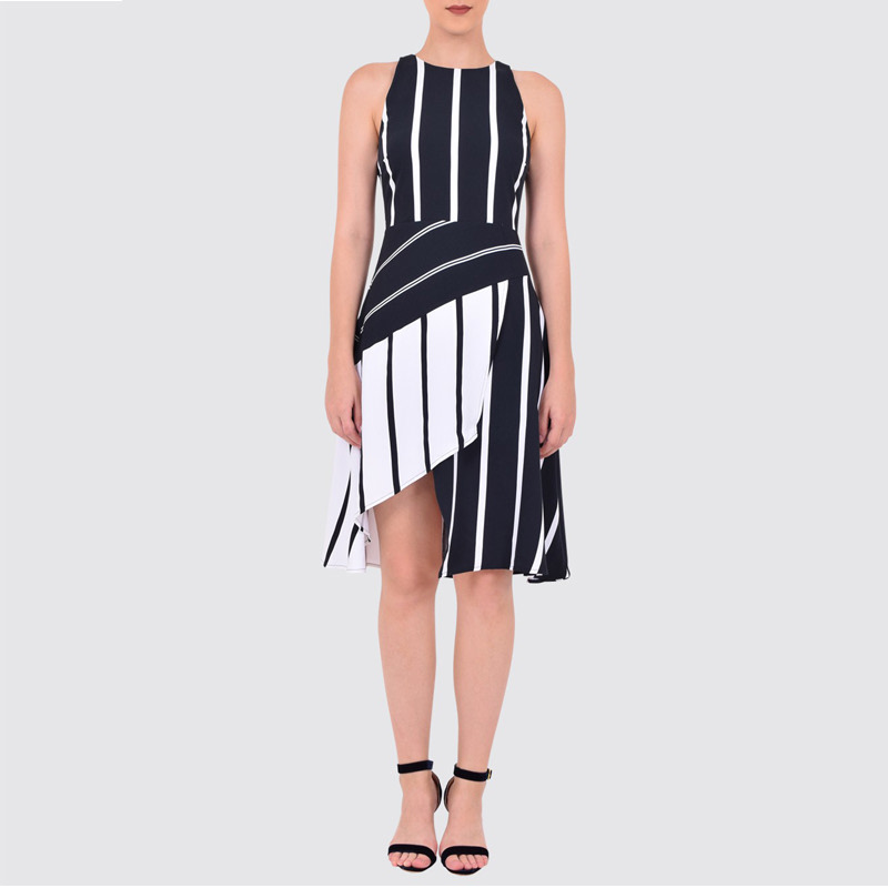 Every chance dress black stripes
