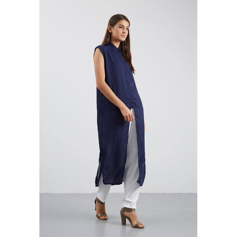 PA Sleeveless Long Shirt Navy