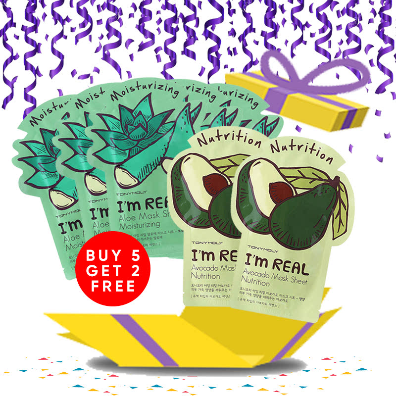 Tony Moly Bundle 5pcs I Am Real Aloe Mask Sheet Moisturizing + 2pcs Avocado Mask Sheet Nutrition