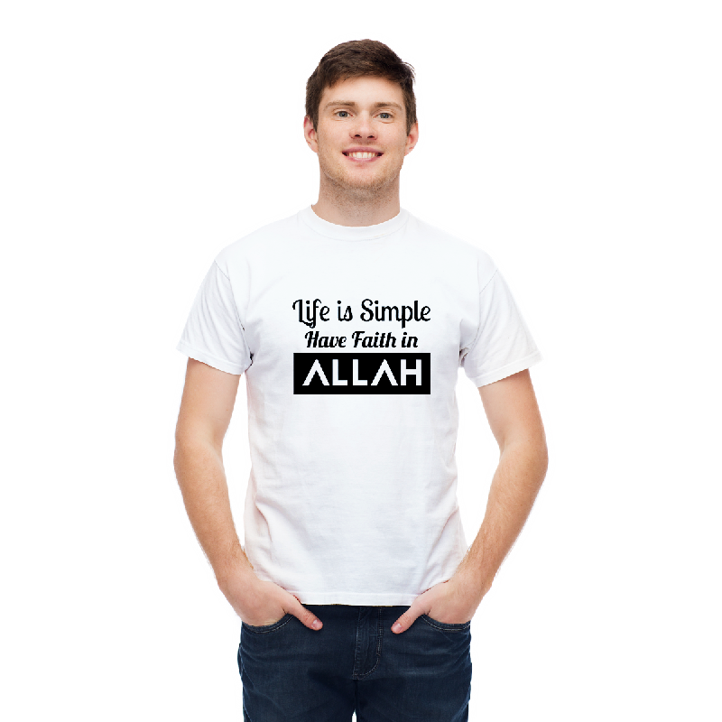 Aitana Kaos Pria Muslim SIMPLE FAITH Bahan Katun warna Abu Putih