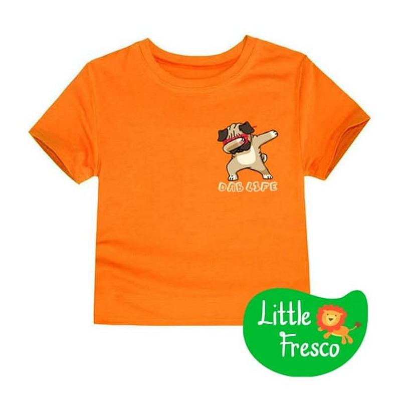 Little Fresco - Kaos Anak Pug Dab Oranye