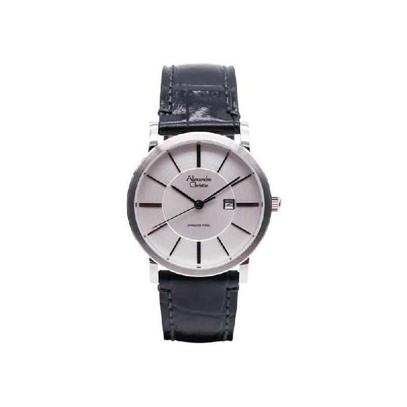 Alexandre Christie AC 8344 LDLSSSL Women Watch Leather Strap Silver White