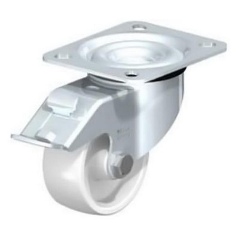 LE-PO 75G-FI Pressed Steel Castors Top Plate Fitting Nylon Wheel Swivel LE-PO 100G-FI