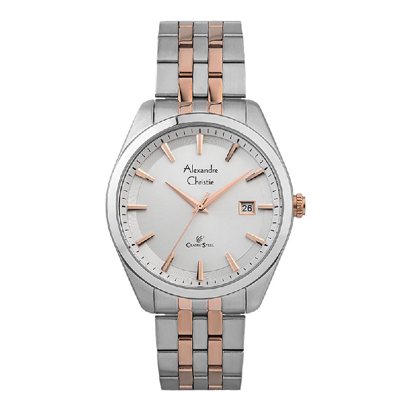 Alexandre Christie Classic Steel AC 8635 MD BTRSL Men Silver Dial Dual Tone Stainless Steel Strap