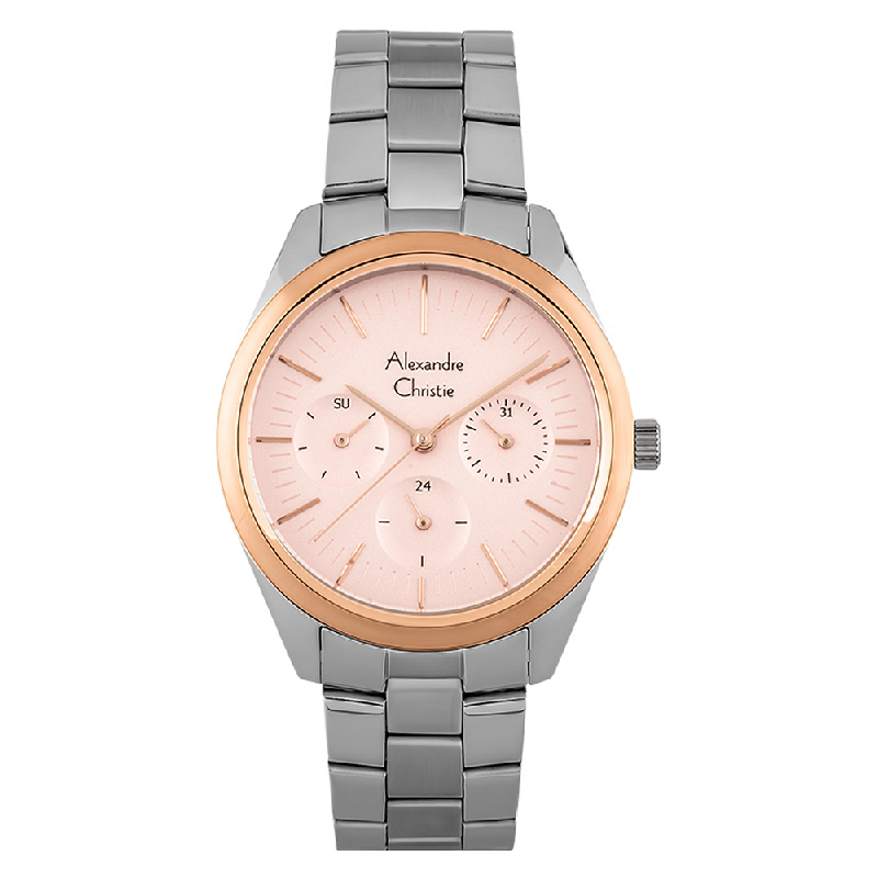 Alexandre Christie AC 2817 BF BTRPU Ladies Rose Gold Dial Stainless Steel Strap
