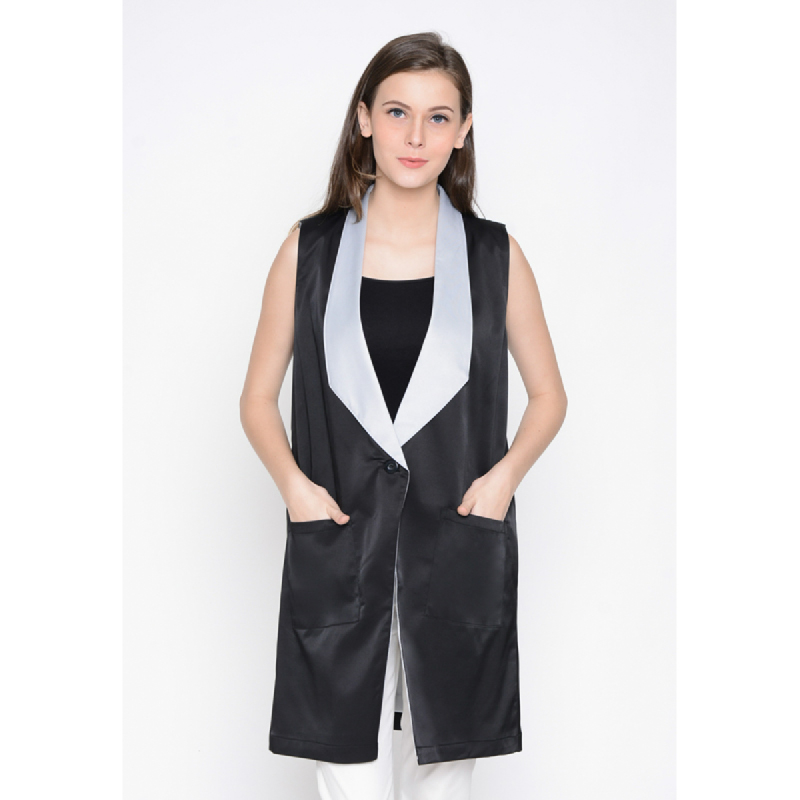 Agatha Black Outer With Tailored Collar Black