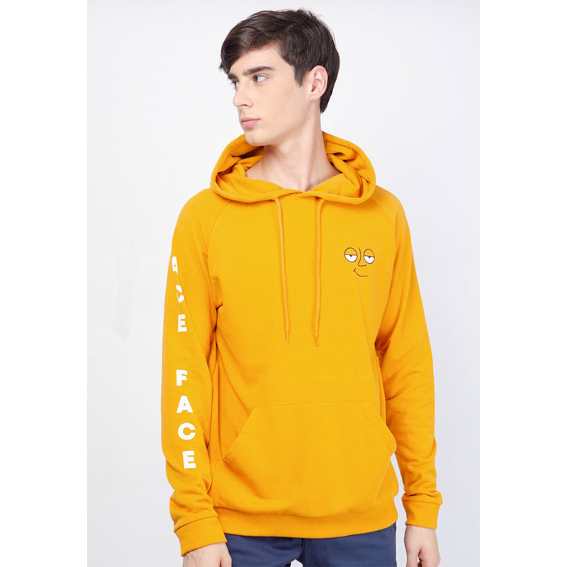 Skelly Men Sweater Ace Face Yellow Hoodie Beswax