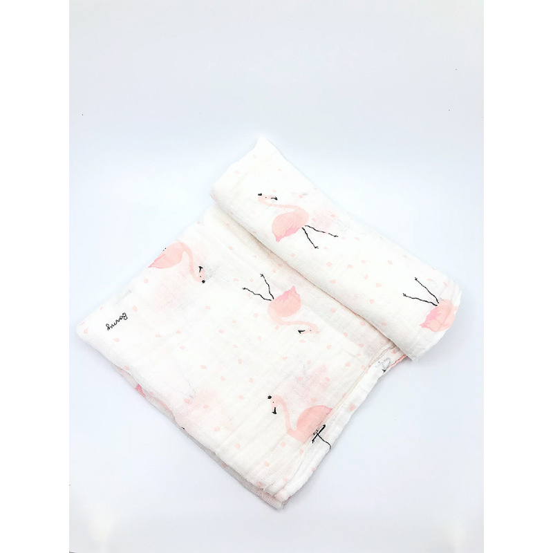 BabyLand Muslin Swaddle Flamingo MSF001