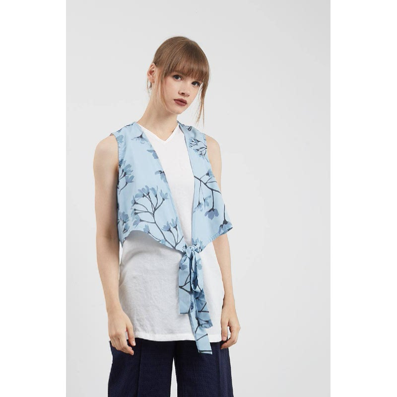 Sili Front Knot Top Blue