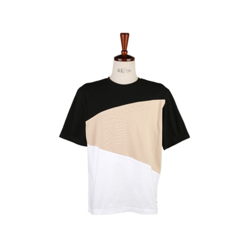 Three Layered Color Short Sleeve T-shirt - Black