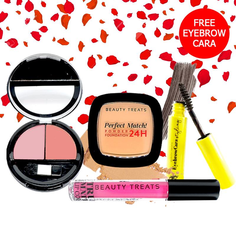 Beauty Treats Make Up Set A (Perfect Match Powder Foundation 24H No. 4 + True Matte Lip Color No. 5 + Duo Blush No. 1) FREE Eyebrowcara Dark Grey Brown