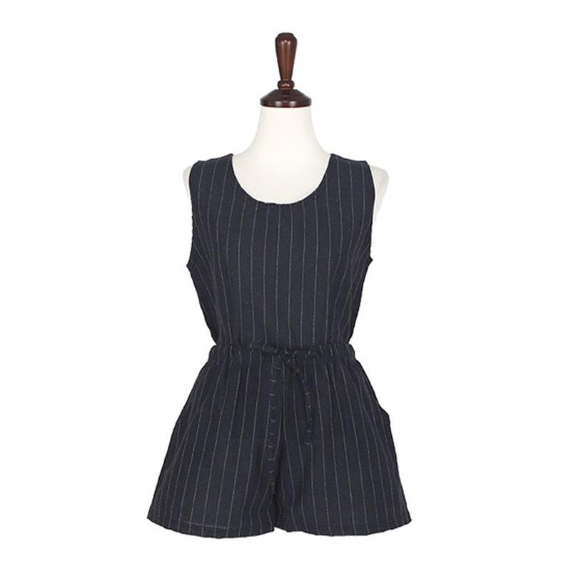 Stripe Linen Set - NAVY