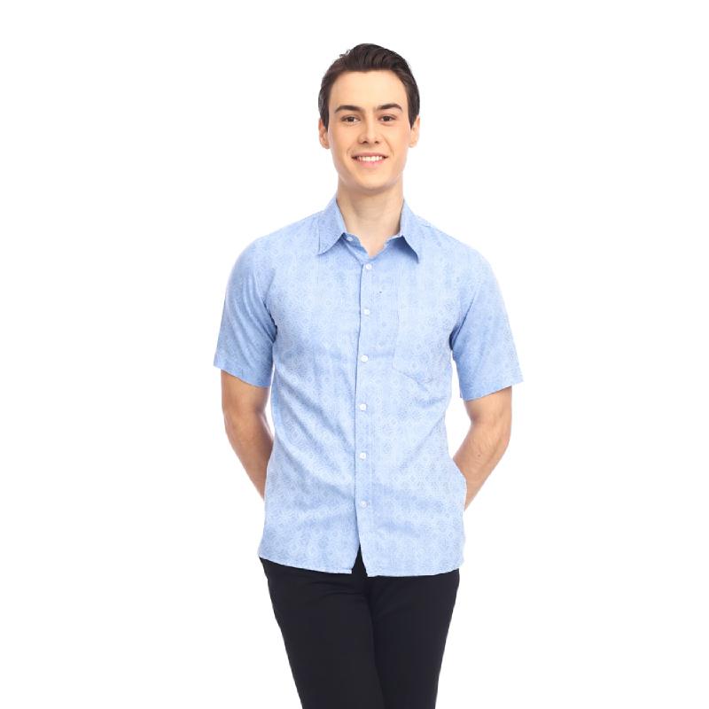 Avila Light Blue Slimfit Short Sleeve Men