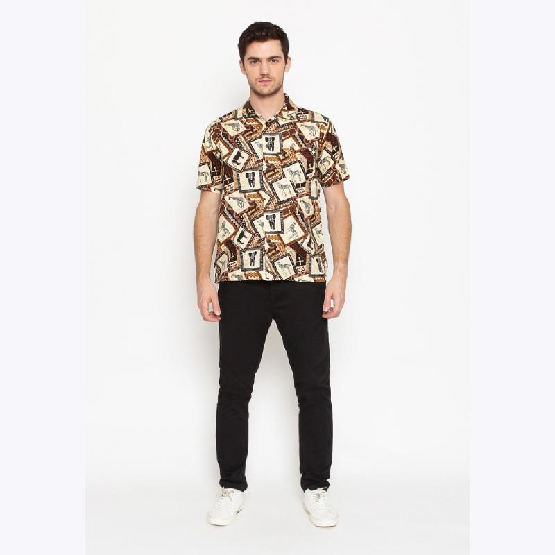 17Seven Winkle Men Shortshirt Patterned Brown