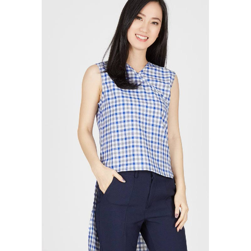 Juliet Blue Plaid Blouse
