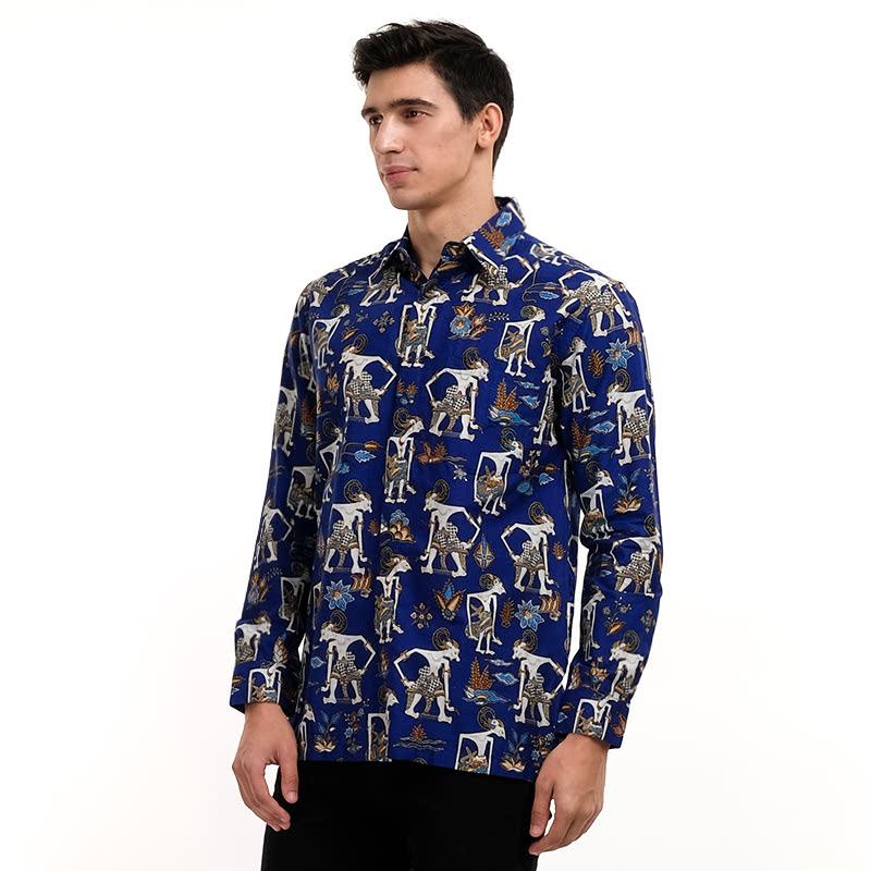 Batik Semar Pa Pandawa Lima 2 Shirt Blue