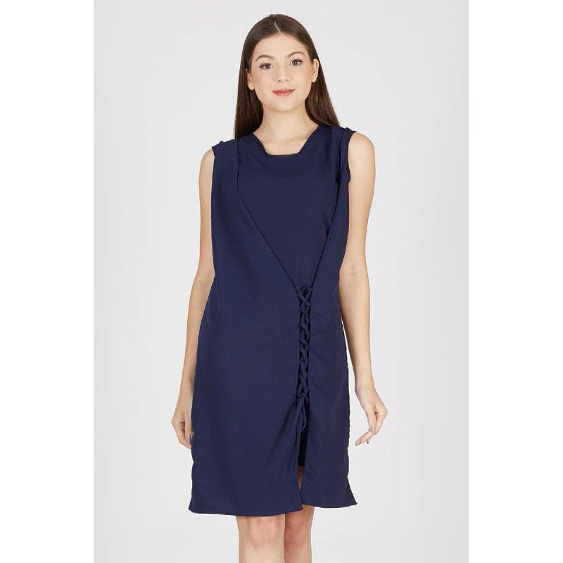Paola Side Knot Dress Blue