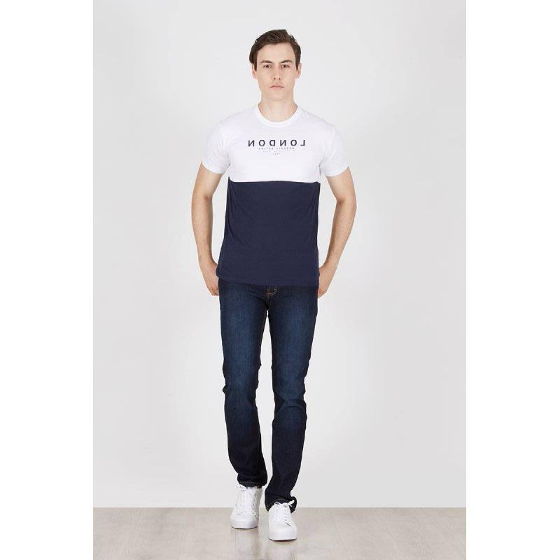 Men London Tshirt Navy White