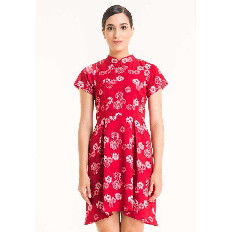 Bateeq Women Short Sleeve Cotton Print Dress FL001A-SS18 Red