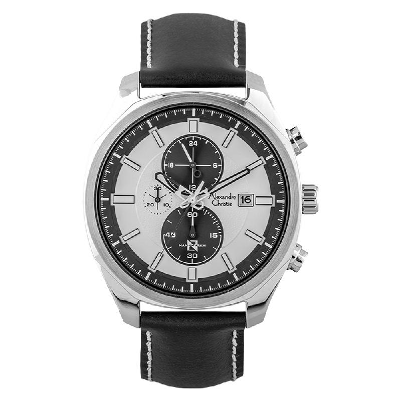 Alexandre Christie AC 6550 MC LSSSL Nanoceram Chronograph Silver Dial Black Leather Strap