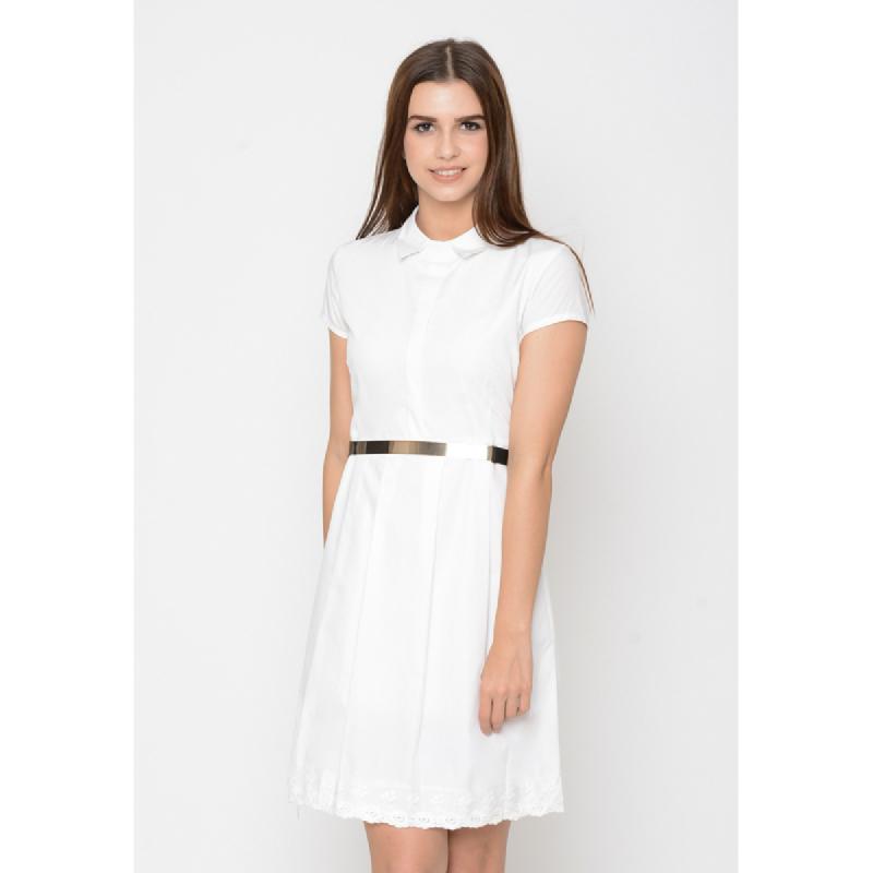 Agatha Skater Mini Dress In White Broken White