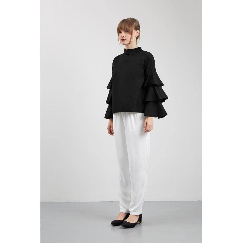 Sina Ruffled Sleeve Top Black