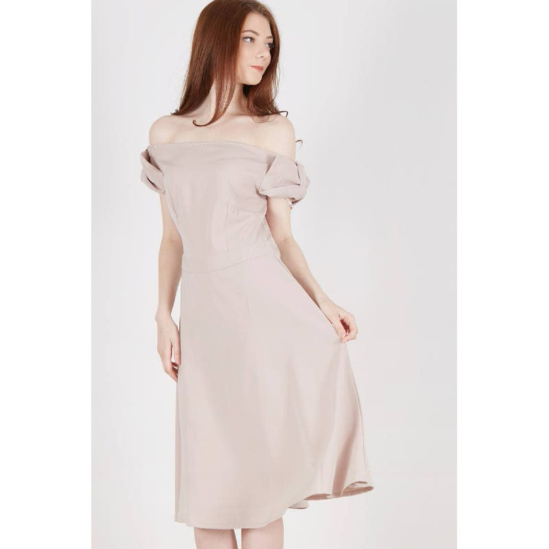 Syeda Bow Dress Brown
