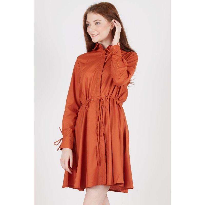 Riana Drawstring Dress Orange