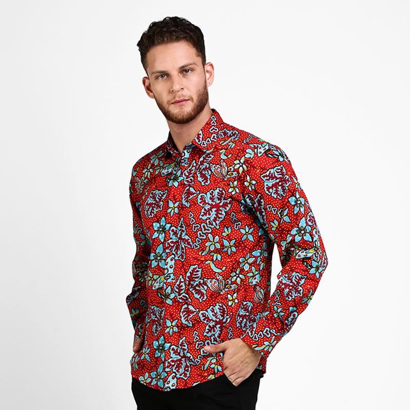 Arjuna Weda Kemeja Batik Sawat Nitik Rentes Merah