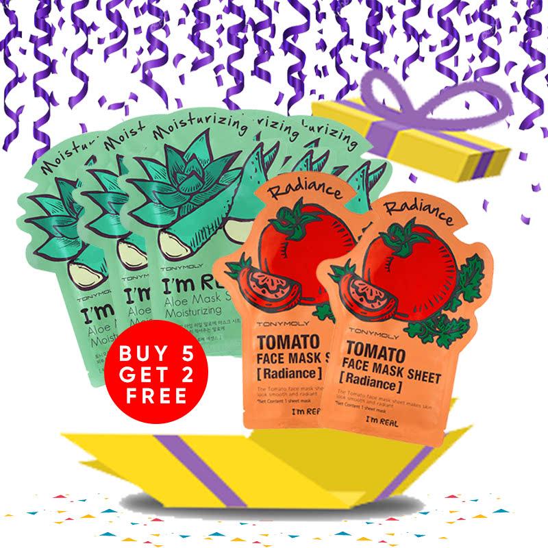 Tony Moly Bundle 5pcs I Am Real Aloe Mask Sheet Moisturizing + 2pcs Tomato Mask Sheet Skin Glow