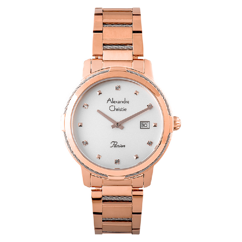 Alexandre Christie Passion AC 2846 LD BRGSL Ladies Silver Dial Rose Gold Stainless Steel