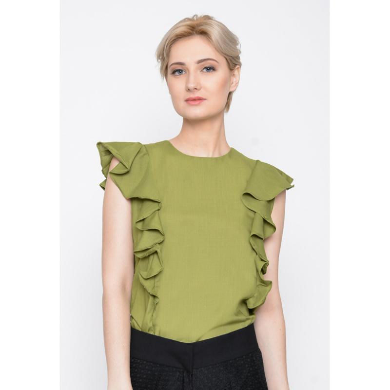 Agatha Ruffled Lining Top Green