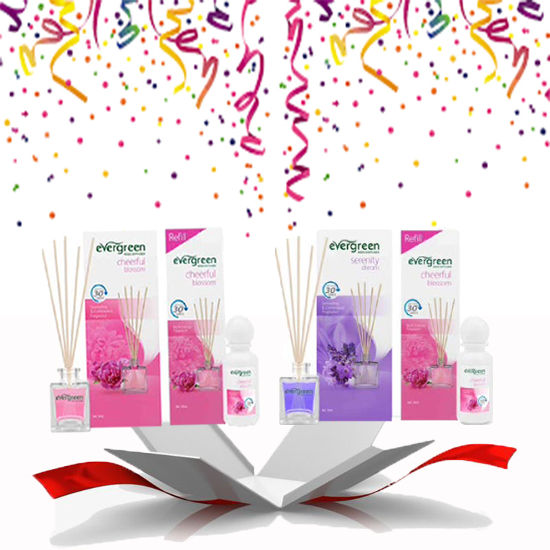 Evergreen Set Cheerful blossom & Refill Cheerful blossom 30 ml & Evergreen Set Serenity Dream & Refill cheerful Blossom 30 ml