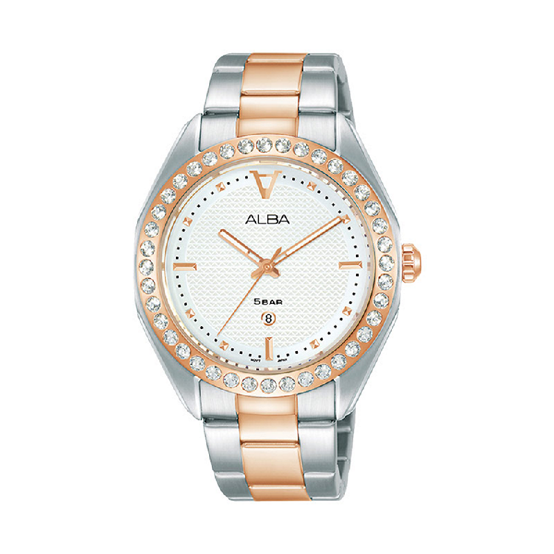 Alba AH7V32X1 Ladies White Patterned Dial Dual Tone Stainless Steel Strap
