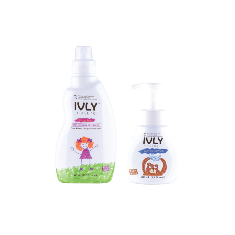 Ivly Nature - Baby Laundry Detergent Tiare Flower & Virgin Coconut Oil 1000ml + Baby Handwash 280 ml