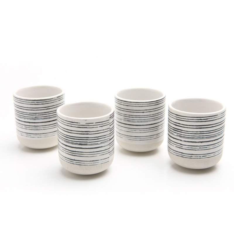 Uchii - Cangkir Keramik Tanpa Gagang - Star Track Pattern