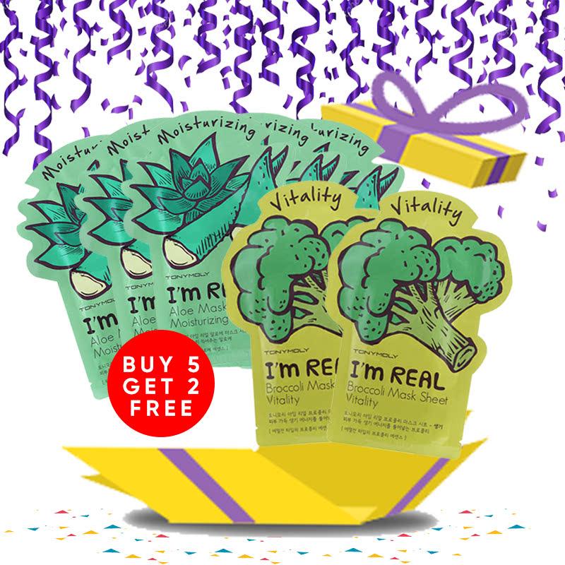 Tony Moly Bundle 5pcs I Am Real Aloe Mask Sheet Moisturizing + 2pcs Brokolli Mask Sheet Vitality